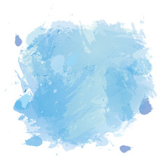 Vector blue watercolor splash texture background.