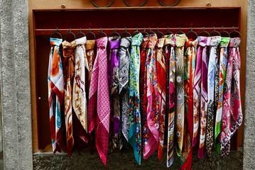 Silk scarf display in Bellagio back street