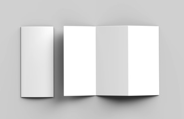 Blank white z fold brochure for mock up template design. 3d render illustration.