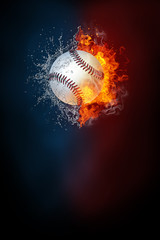 Baseball sports tournament modern poster template. High resolution HR poster size 24x36 inches, 31x91 cm, 300 dpi, vertical design, copy space. Baseball ball exploding by elements fire and water.