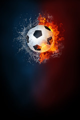 Soccer sports tournament modern poster template. High resolution HR poster size 24x36 inches, 31x91 cm, 300 dpi, vertical design, copy space. Soccer ball exploding by elements fire and water.