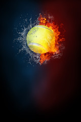 Tennis sports tournament modern poster template. High resolution HR poster size 24x36 inches, 31x91 cm, 300 dpi, vertical design, copy space. Tennis ball exploding by elements fire and water.