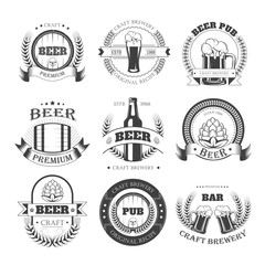 Beer vector icons for brewery bar pub or product labels