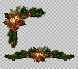 Christmas decoration set of fir and holly wreath