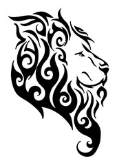 Silhouette lion side head tribal tattoo logo vector design from flame fire white isolated background