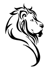 Silhouette lion side head tribal tattoo vector  white isolated background