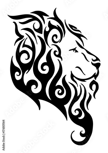Silhouette Lion Side Head Tribal Tattoo Logo Vector Design From
