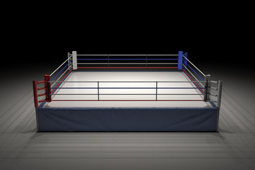 Door stickers London 3d rendering of an empty boxing ring in the dark with its center spotlighted.