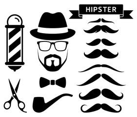 Set of hipster barber elements. Vector illustrations.