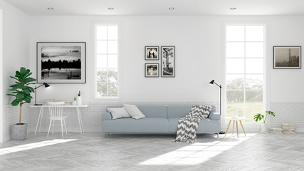 Scandinavian living room  interior design, light blue sofa on wood floor ,white room,3Drender