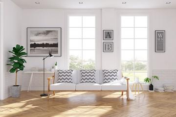 Scandinavian living room  interior design, white sofa on wood floor ,white room,3Drender