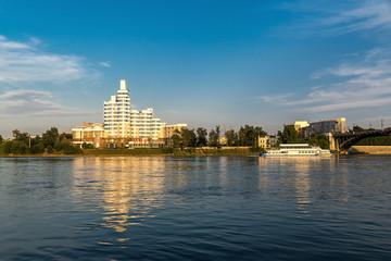 A pleasure ship sails along the Angara River