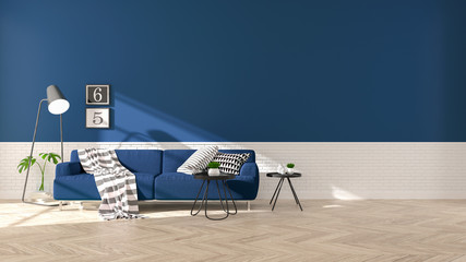 Modern interior of living room with  blue sofa on wood flooring and dark blue wall .emptry room ,3d rendering