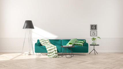 Modern interior of living room with  green sofa on wood flooring and white wall .emptry room ,3d rendering