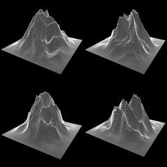 Wireframe terrain set vector background. Cyberspace landscape grid technology illustration