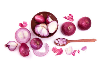 Fresh red onion sliced bulb and onion peel isolated on white background  , overhead shot and top view