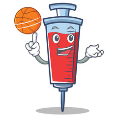 With basketball syringe character cartoon style
