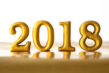 The Golden Number 2018 placed on dark elegant glamour night tone background for new year 2018 celebration concept