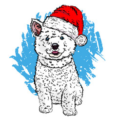 Cute malamute puppy in a New Year hat. White dog sketch. Vector illustration eps 10.