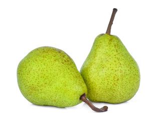two whole of green packham pear isolated on white background