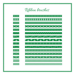Christmas ribbon brushes. Set of green decorative ribbons. Vector Christmas or New Year design element.
