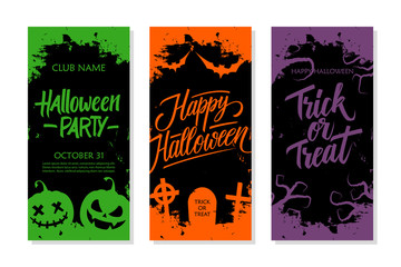Happy Halloween set. Party invitation, greeting card and holiday flyer template with hand lettering, traditional symbols and brush stroke. Vector illustration.