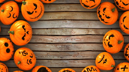 3D Render Close-Up of a lot of funny Jack-O-Lantern or Halloween pumpkins  on wood ground look at the same point. With circle space on center and ready to make a card.