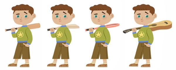 Smart boy holding baseball bat, cricket bat, tennis racket, guitar cartoon character