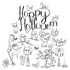 Black and white Halloween symbols and calligraphy phrase Happy Halloween