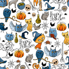 Seamless pattern with Halloween symbols. Endless texture with cute doodles