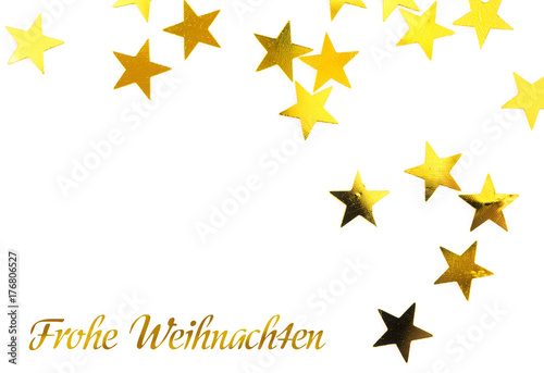 gold stars with german text frohe weihnachten in. Black Bedroom Furniture Sets. Home Design Ideas