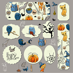 Halloween symbols on stickers and banners.