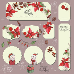 Big set with vintage Christmas decoration. Flyers, banners, visit cards.  Festive elements and symbols, retro style, for new year season design. Green and red color, contour, hand drawn.