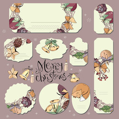 Big set with vintage Christmas decoration. Flyers, banners, visit cards.  Festive elements and symbols, retro style, for new year season design. Green and gold color, contour, hand drawn.