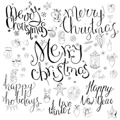 Set with different calligraphy phrases to winter holidays. Lettering Merry Christmas, Happy New Year. Old style, black and white. Festive symbols and snowflakes on white.