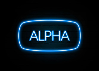 Alpha  - colorful Neon Sign on brickwall