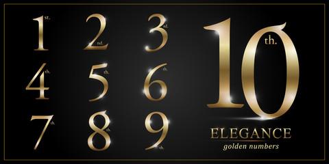 Set of Elegant Gold Colored Metal Chrome numbers. 1, 2, 3, 4, 5, 6, 7, 8, 9, 10, logo design, Golden metallic font typography numbers set. Vector illustration
