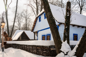 Winter postcard from the Romanian Village Museum in Bucharest, Romania