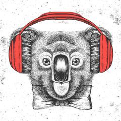 Hipster animal koala. Hand drawing Muzzle of koala