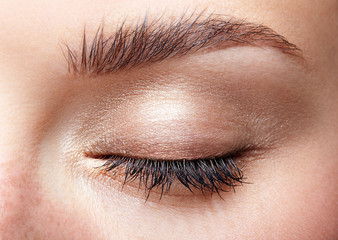 Closeup macro shot of closed human female eye with natural day face beauty make up
