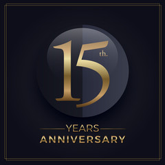 15 years gold and black anniversary celebration simple logo template on dark background