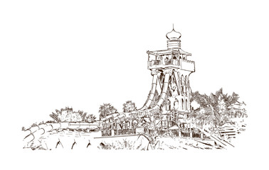 Hand drawn sketch of Water Park in vector Illustrator. Dubai United Arab Emirates.