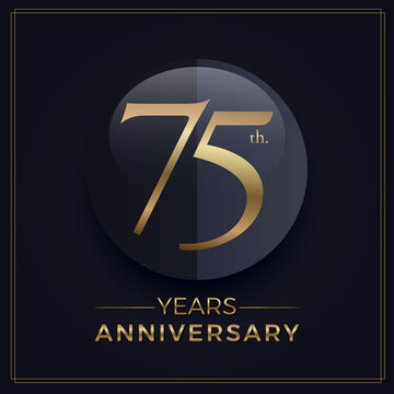 75 years gold and black anniversary celebration simple logo template on dark background