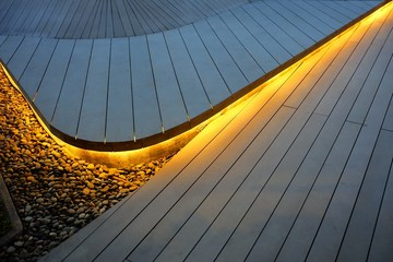Top View of Illuminated Wooden Stair Background.