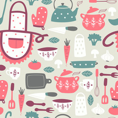 Estores personalizados con tu foto Cute Kitchen Vector Seamless Pattern.