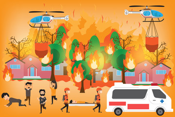 Forest Fire infographics. burning forest trees in fire flames - natural disaster concept. Concept of Wildfire with people manage to survive. Vector Illustration.