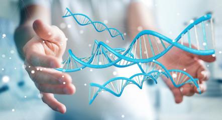 Businessman using modern DNA structure 3D rendering