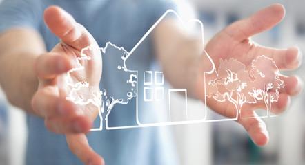 Businessman holding manuscript real estate plan project