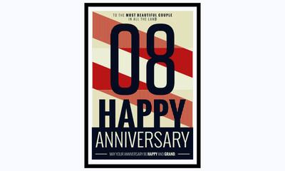 08 Years Happy Anniversary (Vector Illustration Poster Design)