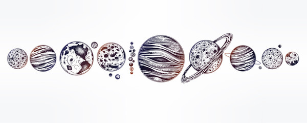 Collection of planets solar system. Dotwork set.